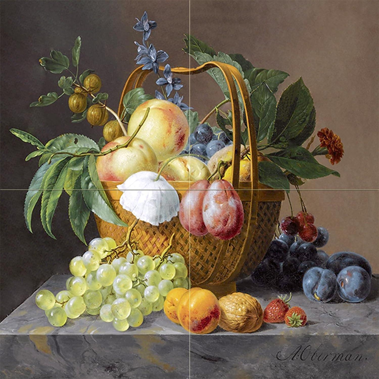 Fruit flower a oberman plum gooseberry tile mural for Ceramic mural paintings