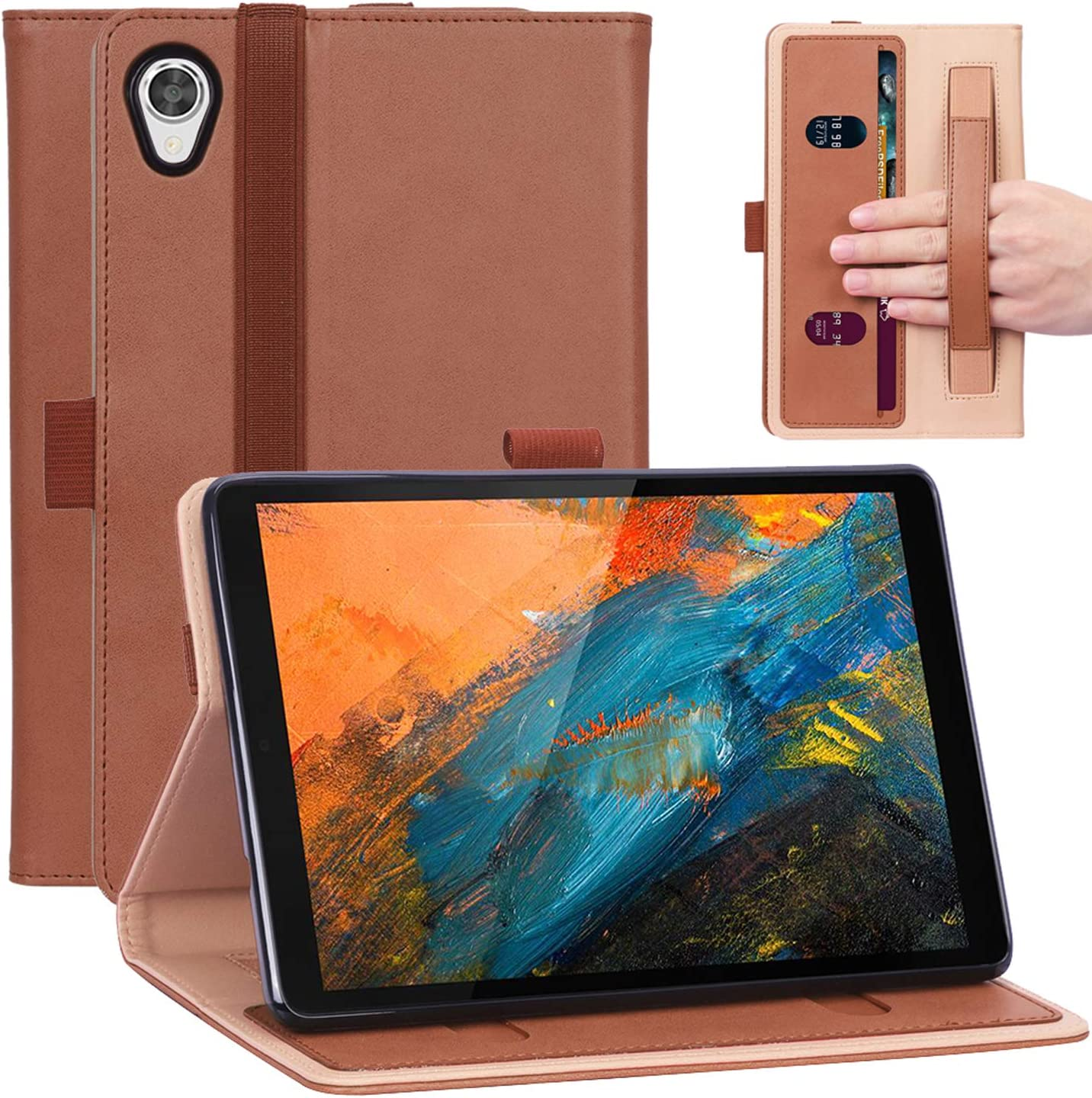 Timewall Multi-Angle Stand Case for Lenovo Tab M8 HD FHD 8 Inch Tablet 2019 TB-8705F/N TB-8505F/X/I, with Hand Strap Card Cash Slot Elastic Band Pen Holder PU Leather Smart Full Cover Brown