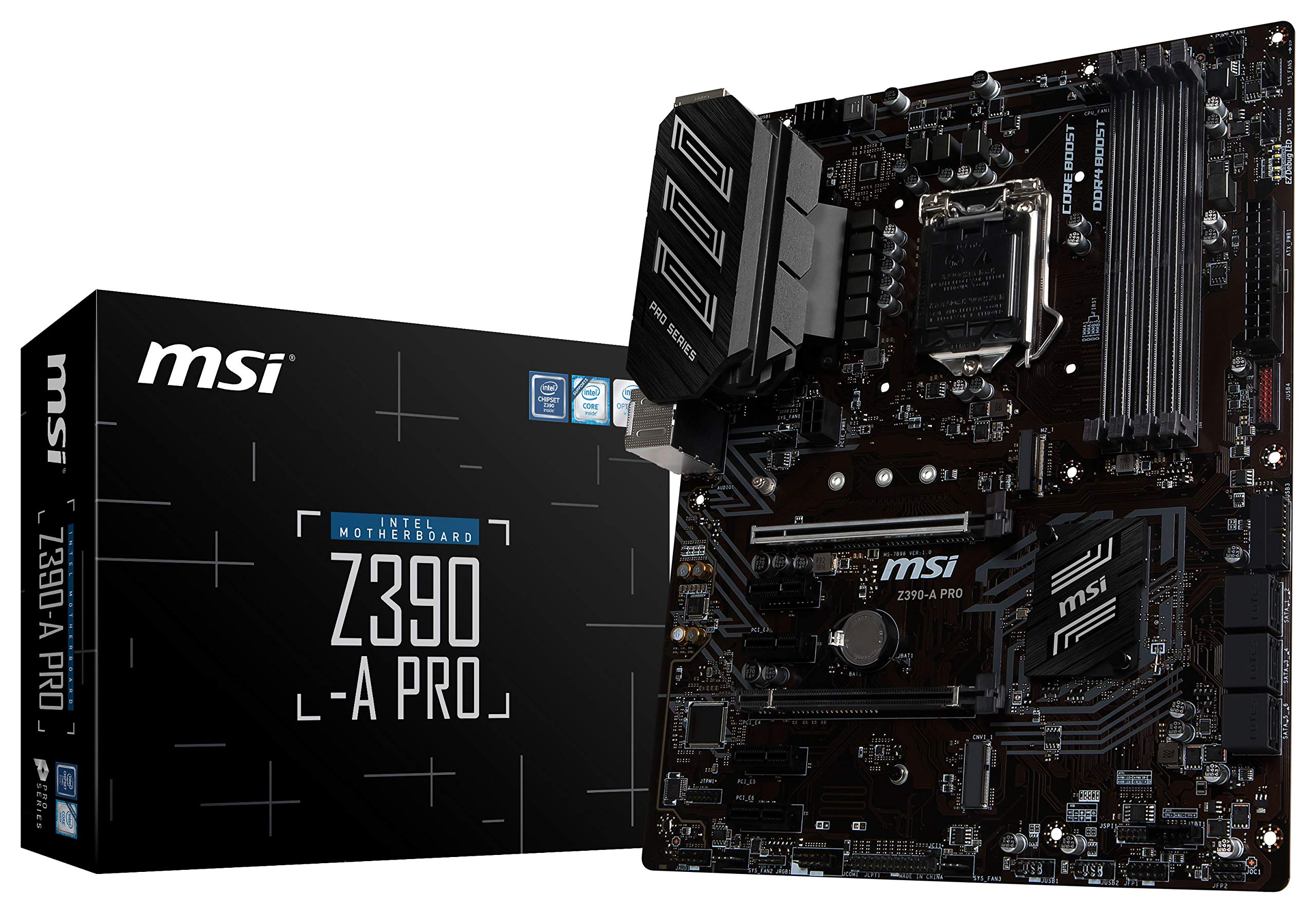 MSI Z390-A PRO LGA1151 (Intel 8th and 9th Gen) M.2 USB 3.1 Gen 2 DDR4 HDMI DP CFX Dual Gigabit LAN ATX Z390 Gaming Motherboard by MSI