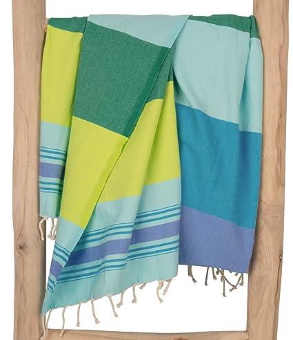 ZusenZomer Fouta Playa Casablanca Azul y Verde | Toalla Hammam XL, 100 x