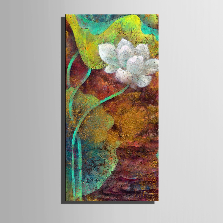 RUNDESHEBEI Y&M Frameless Malerei, gestreckte Leinwand Kunst spektakuläre Lotus Dekoration Malerei, 40  80  1