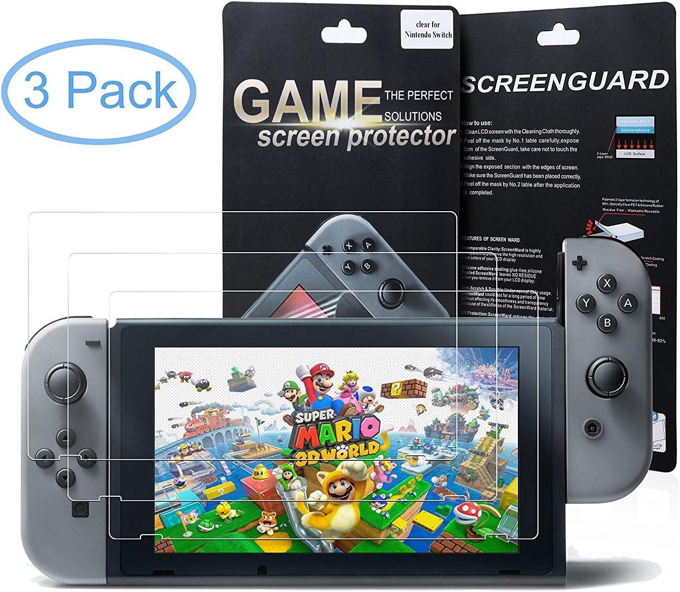 Nintendo Switch Protector de Pantalla, Morbuy HD PET Film Transparente Ultra-trasparente Anti-golpe Ajuste Perfecto No hay Burbujas Protector Pantalla Screen Protector para Nintendo Switch (3 Pack): Amazon.es: Electrónica
