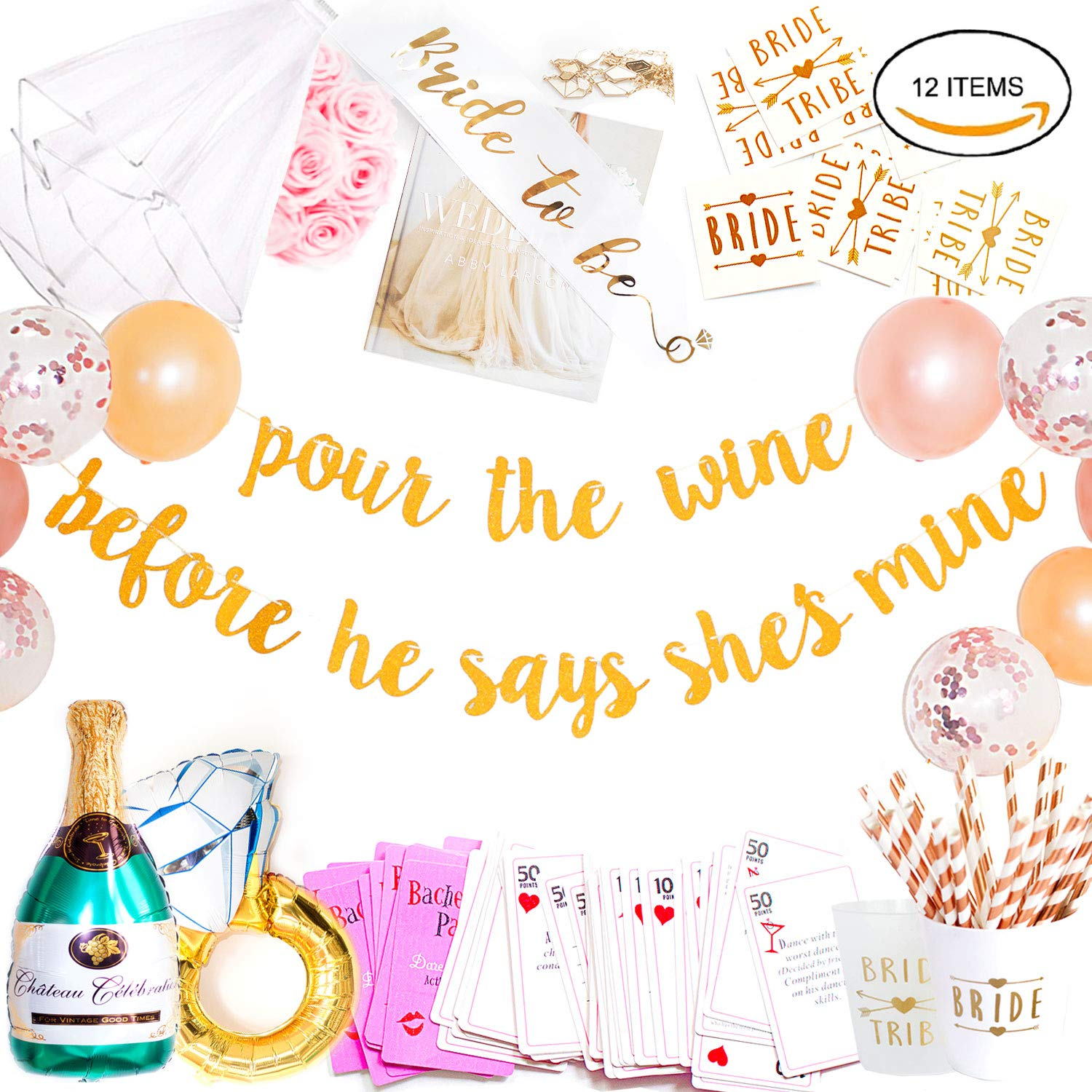 Bachelorette Party Decorations Kit (12 Items / 115 Pcs) | Bridal Shower Supplies | Gold Banner, Bride to Be Sash, Veil, Cups, Straws, Rose Gold Balloons, Engagement Ring & Champagne Foil Balloon, Game