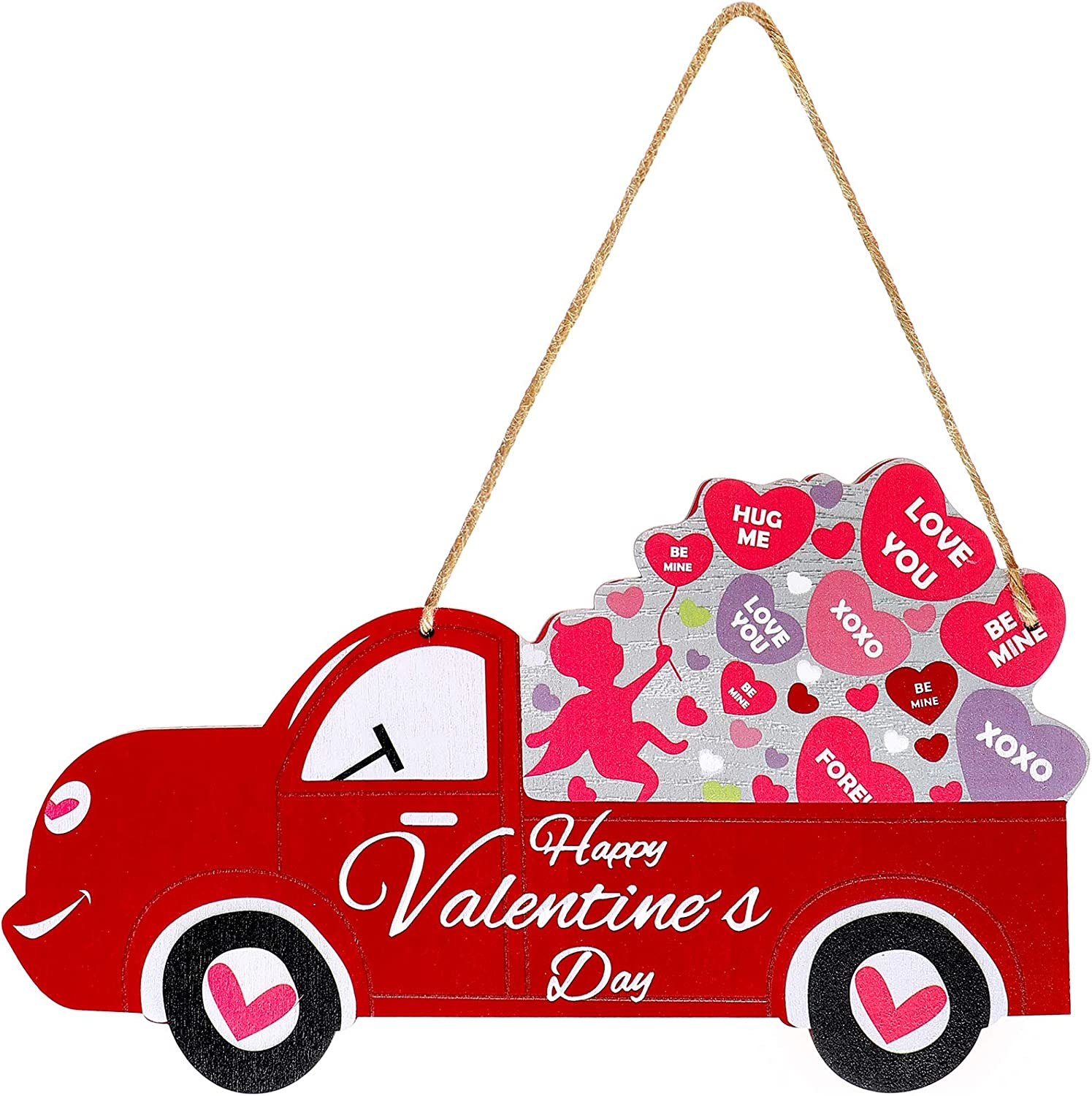 Jetec Happy Valentine's Day Wooden Sign Vintage Truck Decor Door Sign Wall Hanging Decorations for Valentine's Day, Wedding, Party, Anniversary, Home Decoration, 11.8 x 6.7 Inch
