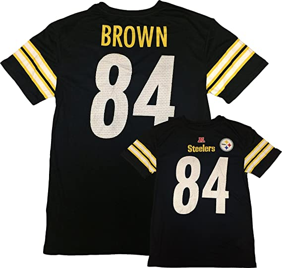 ddbbe09e7 Outerstuff Antonio Brown Pittsburgh Steelers  84 Black Kids Fashion Name  and Number T Shirt (