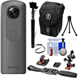 Ricoh Theta V 360-Degree Spherical 4K HD Digital Camera with Helmet Mounts + Selfie Stick + Case + Mini Tripod + Kit