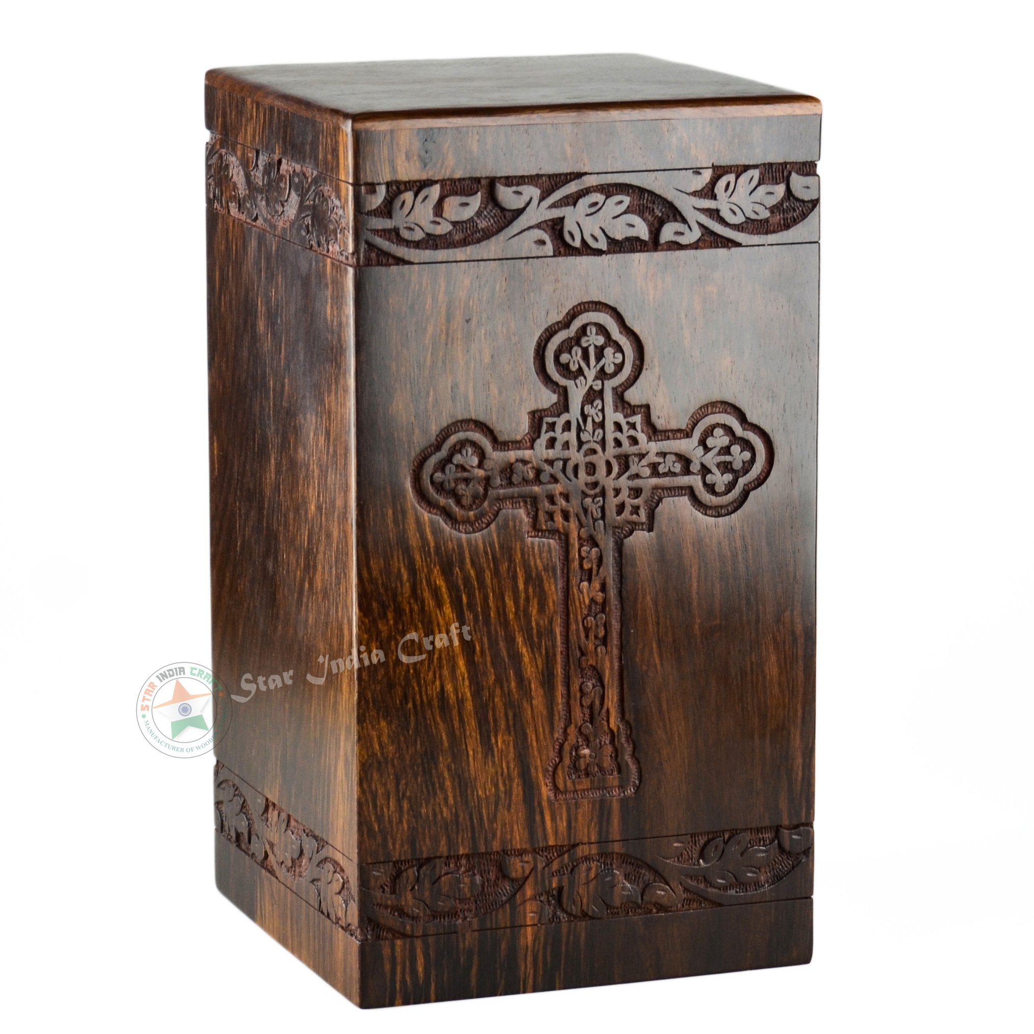 STAR INDIA CRAFT Cross Engraved Rosewood Urns for Human Ashes Adult By, Handmade Cremation Funeral Urn for Ashes,A perfect Burial Wooden Box for your Loved Ones (Cross-11, 11.25x6.25x6.25-250 Cu/In)