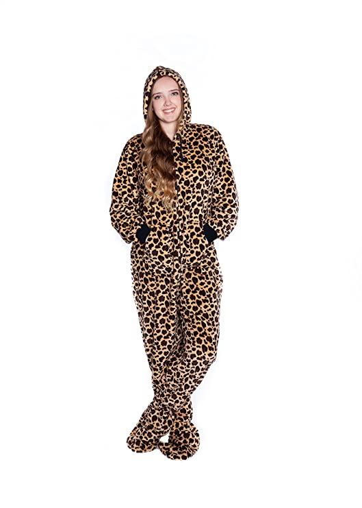 Amazon.com: Big Feet Pjs Leopard Print Hoodie Plush Footed Pajamas Onesie: Clothing