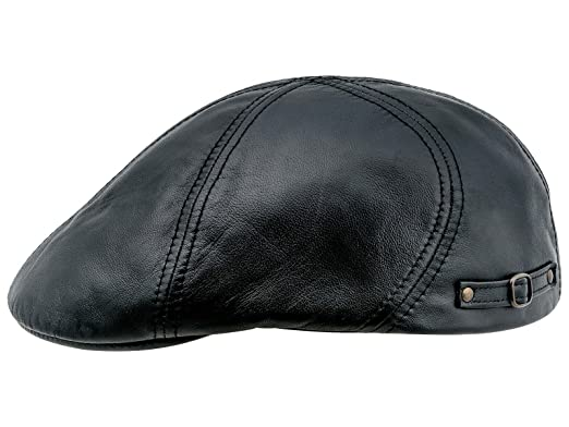 276c0591020d4 Sterkowski Genuine Leather 6 Panel Classic Duckbill Flat Cap US 6 3 4 Black