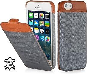 StilGut UltraSlim - Serie Fashion, custodia per Apple iPhone 5s, & iPhone SE storm grey plastica / cognac