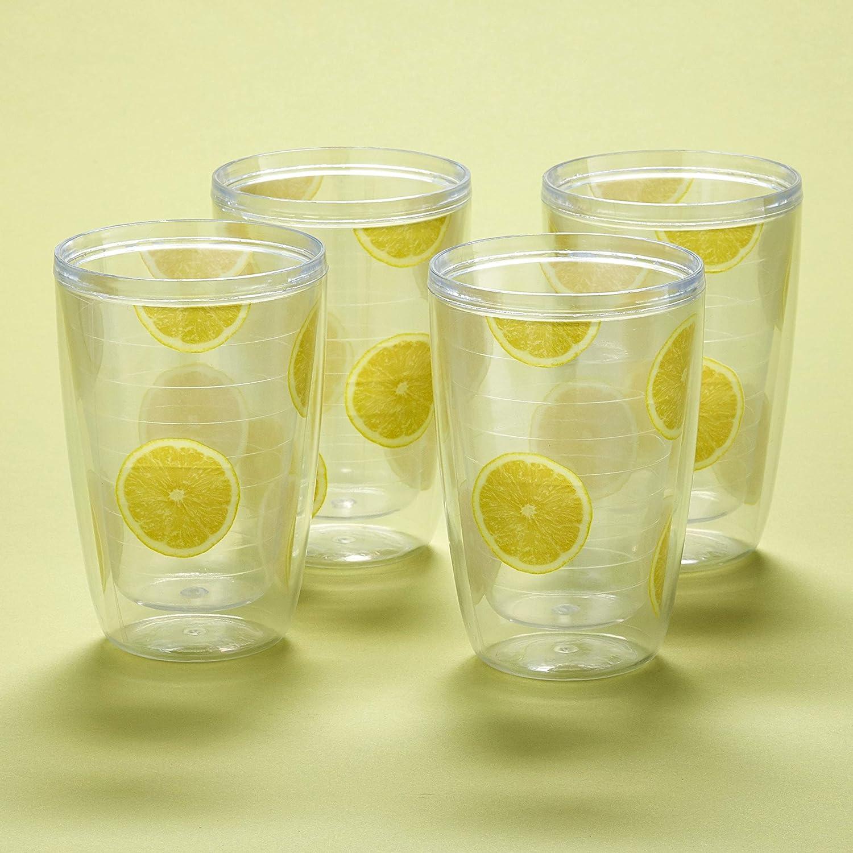 16-oz. Double-Wall Beverage Tumbler Cups - Lemons - Set of 4