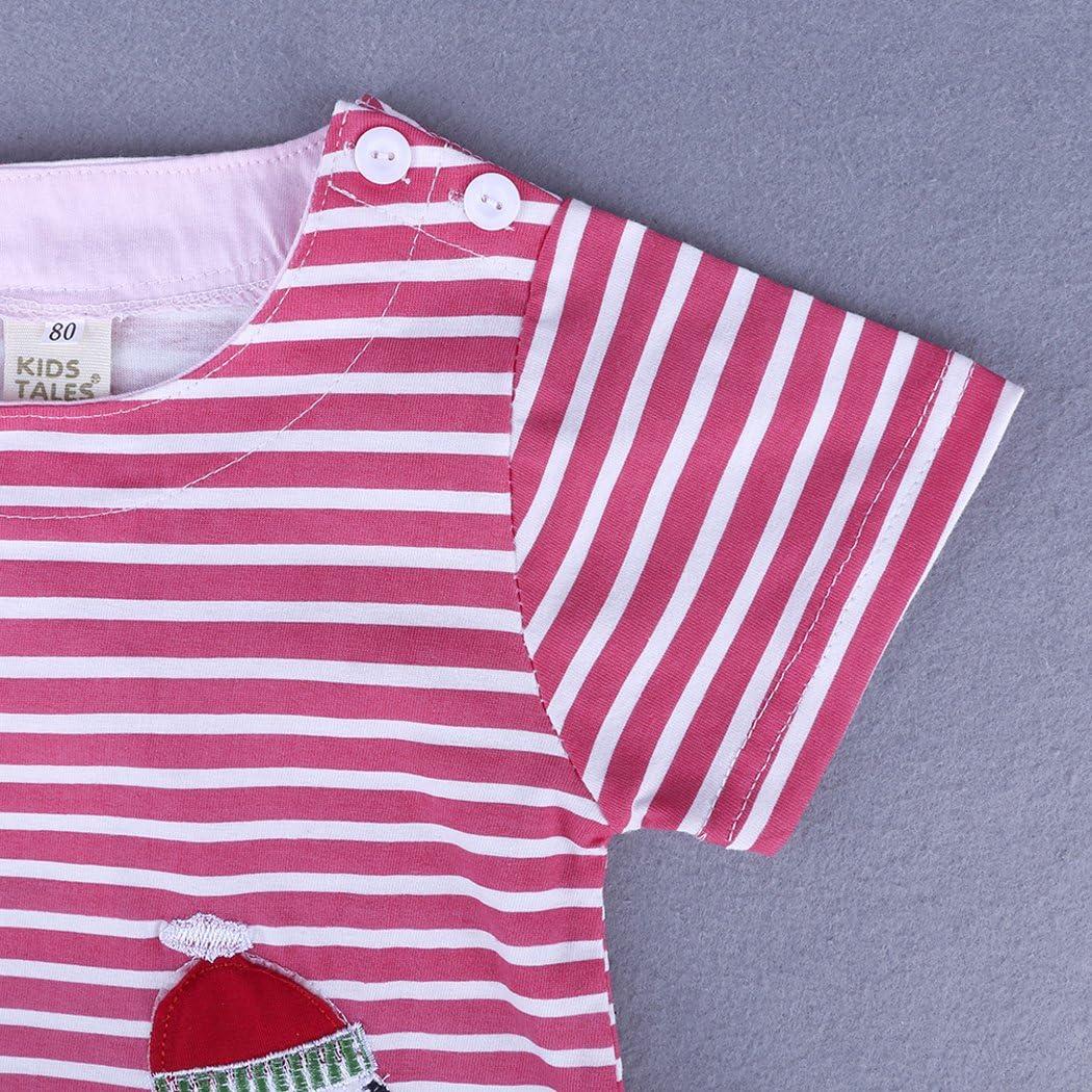 MIOIM Toddler Baby Girls Summer Short Sleeves Dress Cartoon Animal Stripe//Dot Casual Playwear Frock Dress