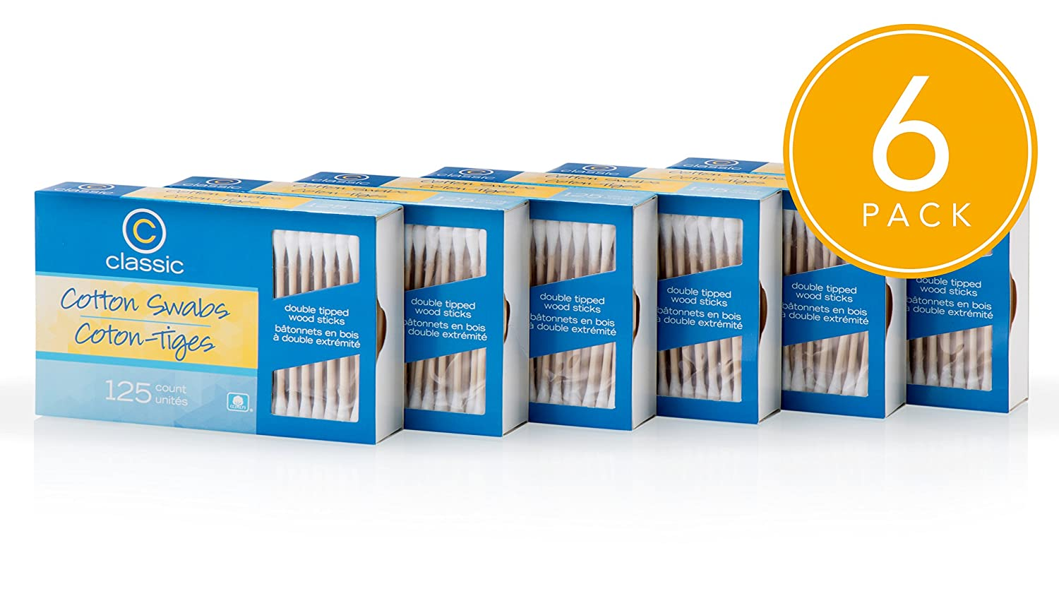 Classic Cotton Swabs Double Tipped Wooden Sticks 125 Count Per Pack (Pack of 6 = 750 Count)