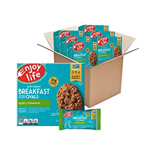 Enjoy Life Soft Baked Apple Cinnamon Ovals Breakfast Bars, Nut Free Bars, Soy Free, Dairy Free, Non GMO, Gluten Free Vegan Breakfast Bars, 6 Boxes