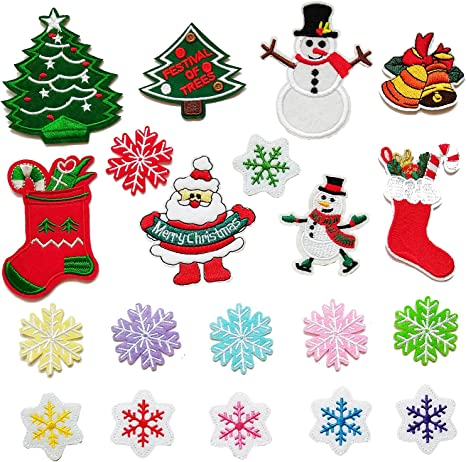 Snowman Patch Iron Sew On Badge Embroidered Christmas Decoration Craft Applique