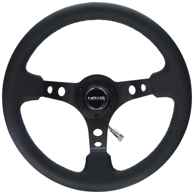 NRG Innovations RST-006BK Reinforced Wheel-350mm Sport Steering Wheel (3' Deep) Spoke w/Round Holes/Black Leather