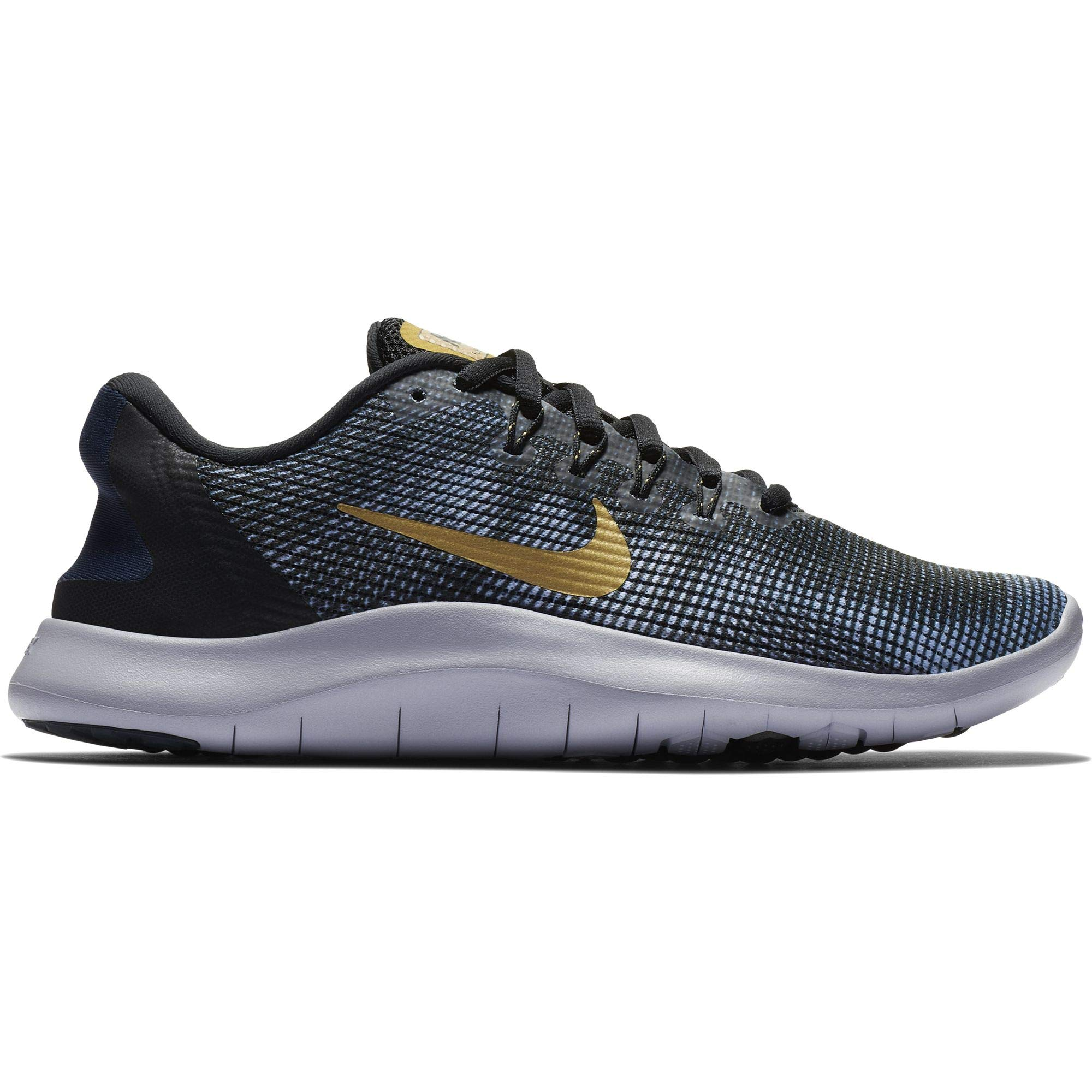 aea35c3f0588 Galleon - NIKE Women s Flex RN 2018 Running Shoe Black Metallic Gold Obsidian  Size 8 M US