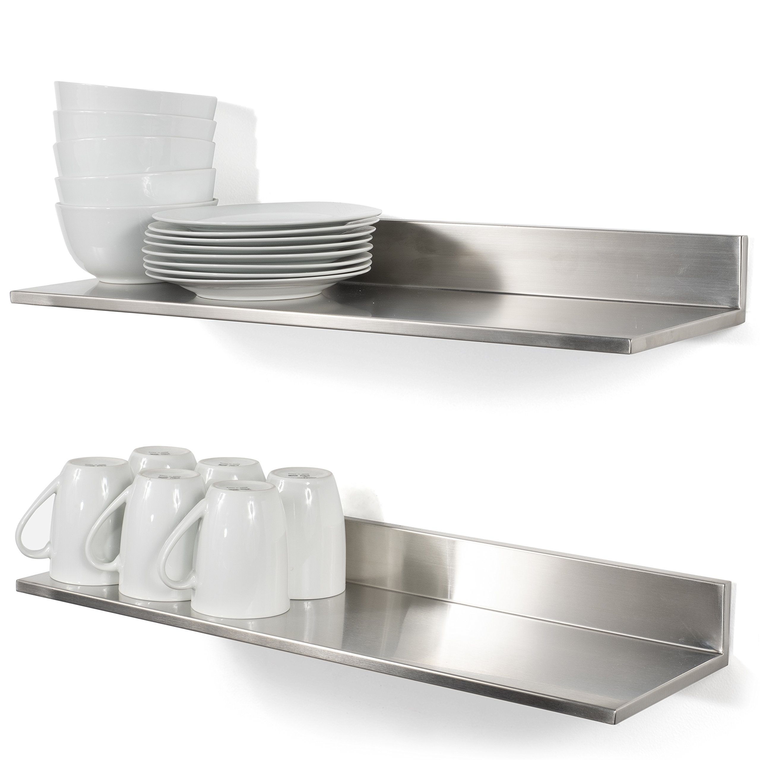 Durable Stainless Steel Wall Mountable 23.60 Inch Kitchen Shelf for Restaurants Businesses and Eateries (2) by RACK&HOOK