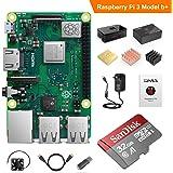 YABER Raspberry Pi 3 Model b+ ラズベリーパイ 3 b+ MicroSD 32Gカード(NOOBSシステム付き)/カードリーダ/スイッチ付電源/HDMIケーブル/ヒートシンク/取り付けケース/排熱ファン/日本語取扱説明書/24ヶ月保証