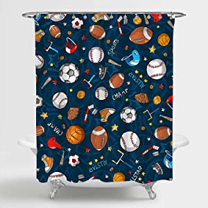 MitoVilla Sports Shower Curtain for Baby Kids, Children and Teens, Baseball Basketball Football Hockey Star Pattern Decorative Bathroom Accessories, Blue, 72
