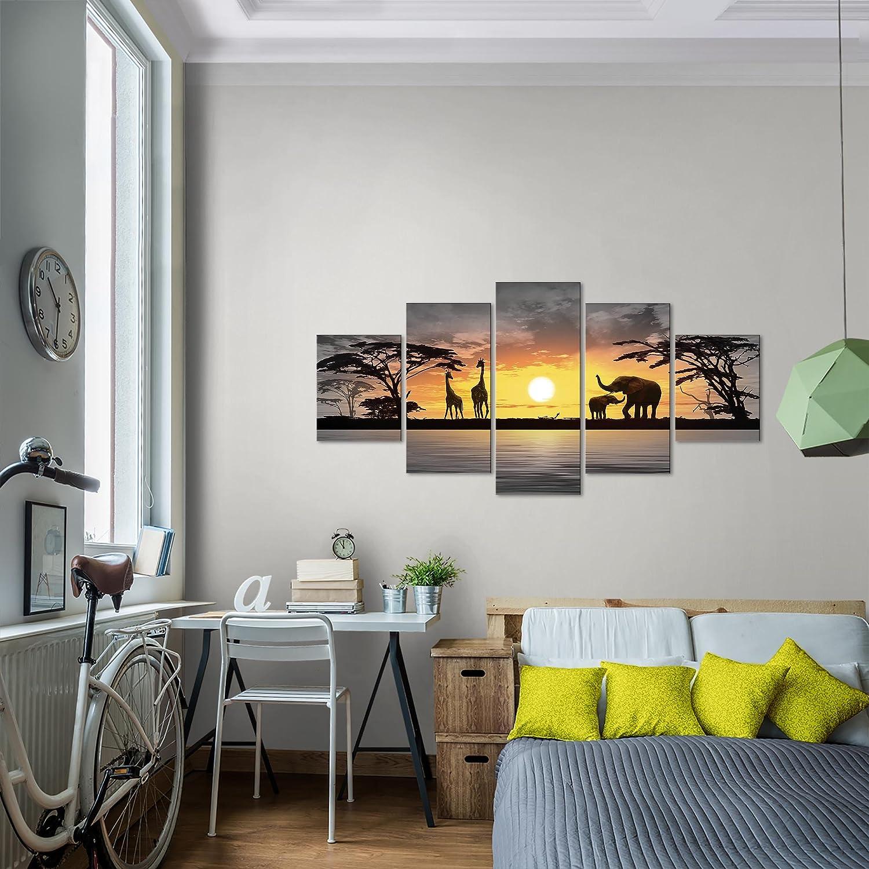 Prestigeart Bilder Afrika Sonnenuntergang Wandbild Vlies Leinwand