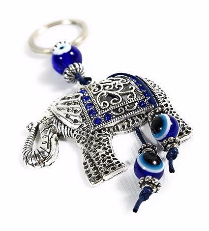 Llavero de elefante azul mal de ojo Mal de ojo amuleto Feng ...