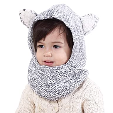 Decentron Boys Girls Kids Winter Hats Scarf Warm Woolen Earflap Hood Hat  Scarves with Ears Skull 412011b1d57
