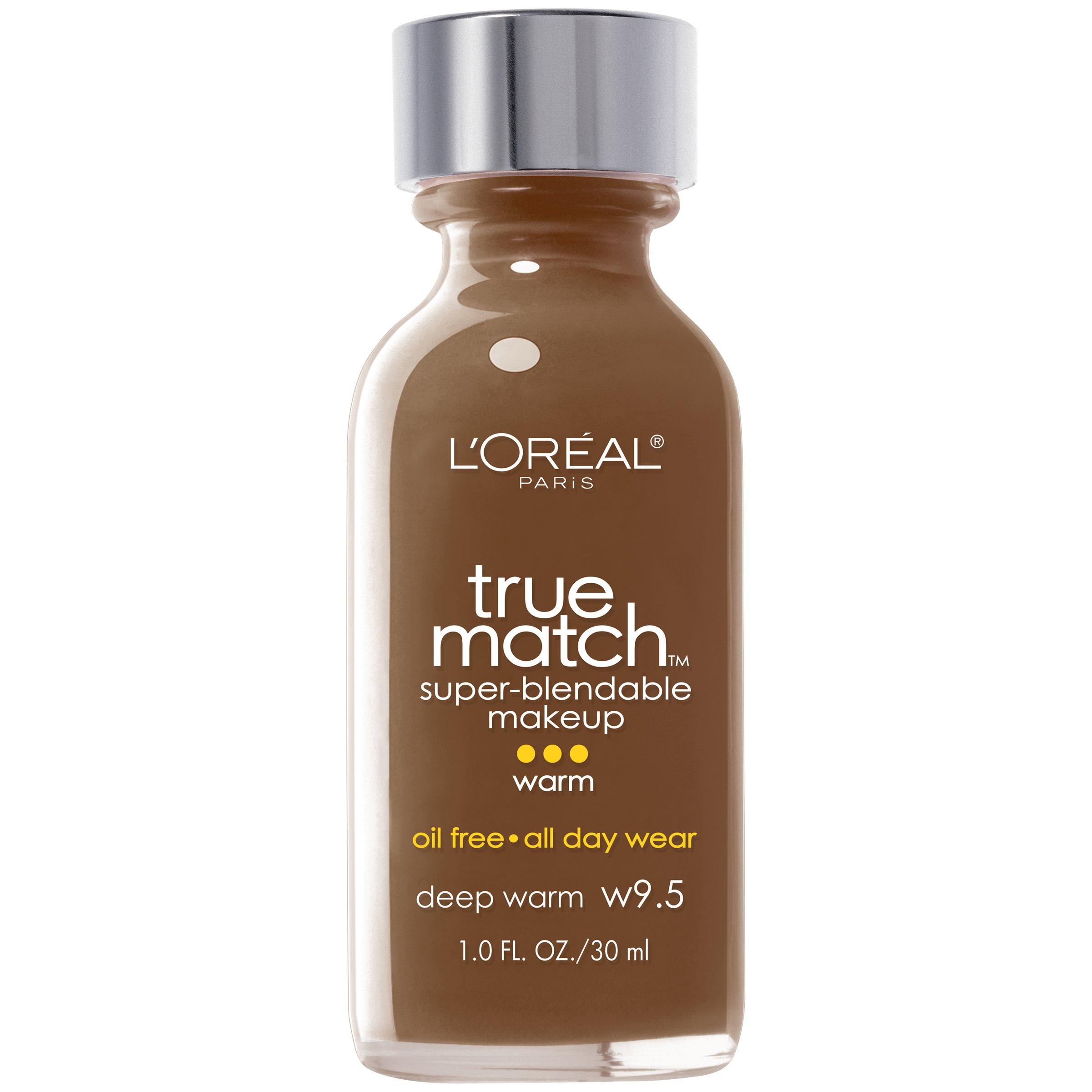 L'Oreal Paris Makeup True Match Super-Blendable Liquid Foundation, Deep Warm W9.5, 1 Fl Oz,1 Count