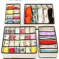PUBAMALL Closet Underwear Organizer Drawer Divide by para ropa interior, sujetadores, calcetines, corbatas, pañuelos (Un juego de 4 paquetes) (Amarillo claro)