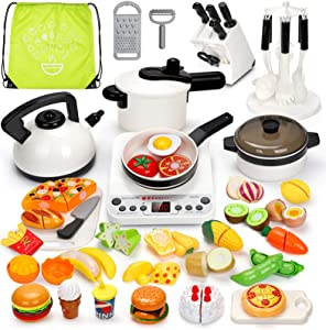 Koonie 50PCS Kitchen Toys, Pretend Play Kitchen Set with Electronic Induction Cooktop, Pressure Pot and Pans, Cutting Play Food, Play Cooking Utensils for Toddlers, Kids, Girls, Boys Learning Gift