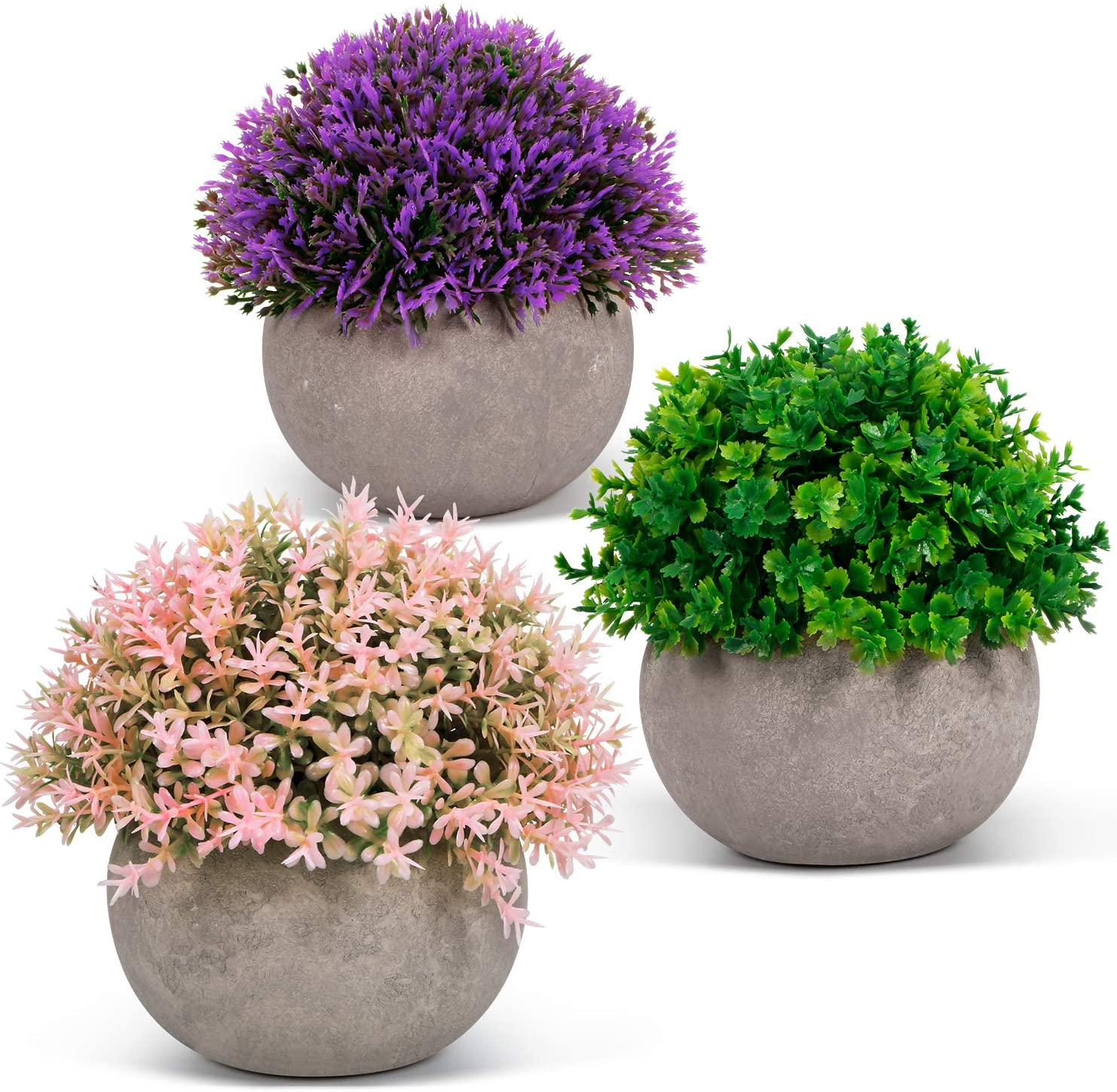 ODOM Artificial Plants - 3 Pcs Mini Fake Plants in Pots for Home Decor - Faux Colorful Flower for Bathroom Farmhouse Office Wedding Decorations