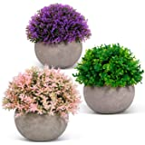 ODOM Artificial Plants - 3 Pcs Mini Fake Plants in Pots for Home Decor - Faux Colorful Flower for Bathroom Farmhouse Office W