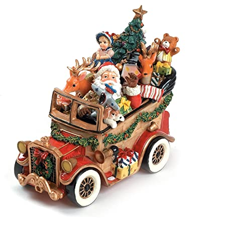 Santa Classic Car We Wish You A Merry Christmas Musical Figurine