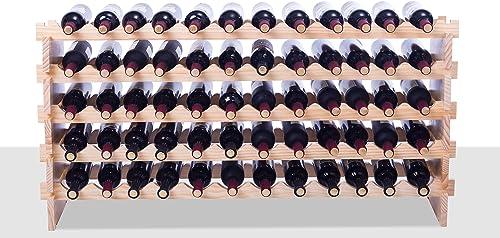 Solid Wood Wine Rack Modular Expandable Stackable Wine Storage Display Shelves 60 Bottle