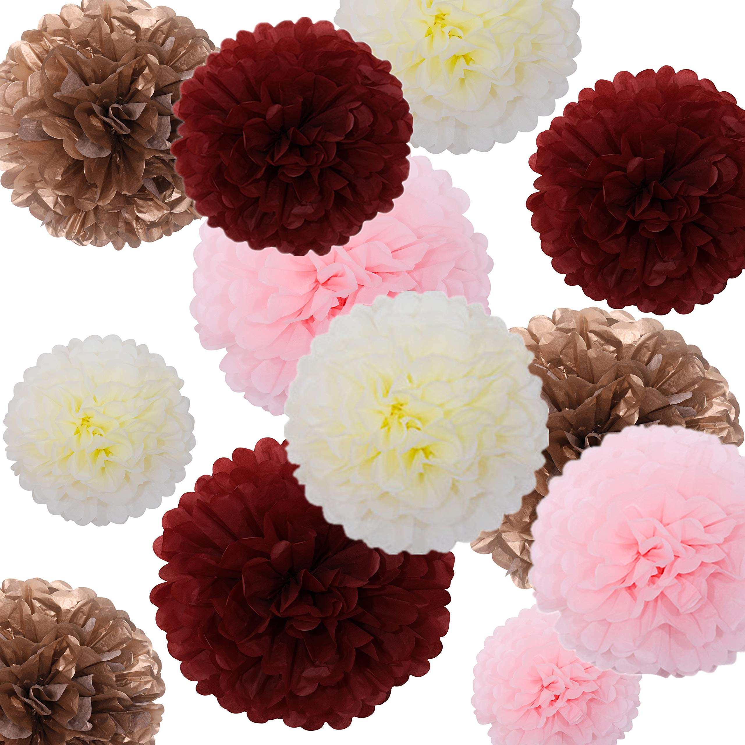 Fonder Mols 24pcs Tissue Paper Flowers - Burgundy and Rose Gold Party Decorations - Tissue Paper Pom Poms For Baby Shower, Wedding, Birthday - Paper Pom Pom Set by Fonder Mols