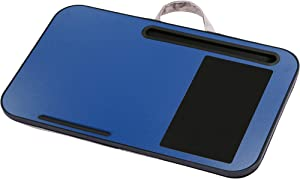 "Portable Angled Pillow Cushion Lap Desk, Fits up to 17"" Laptop with Built in Mouse Pad & Phone Holder, Blue, 12.25"" x 19.5"" x 2.5"""