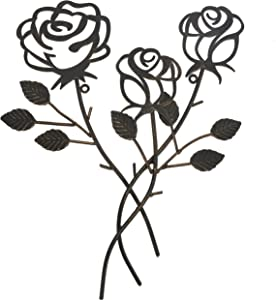 Scwhousi Metal Rose Wall Decor Garden Flower Wall Art,Rustic (14.25