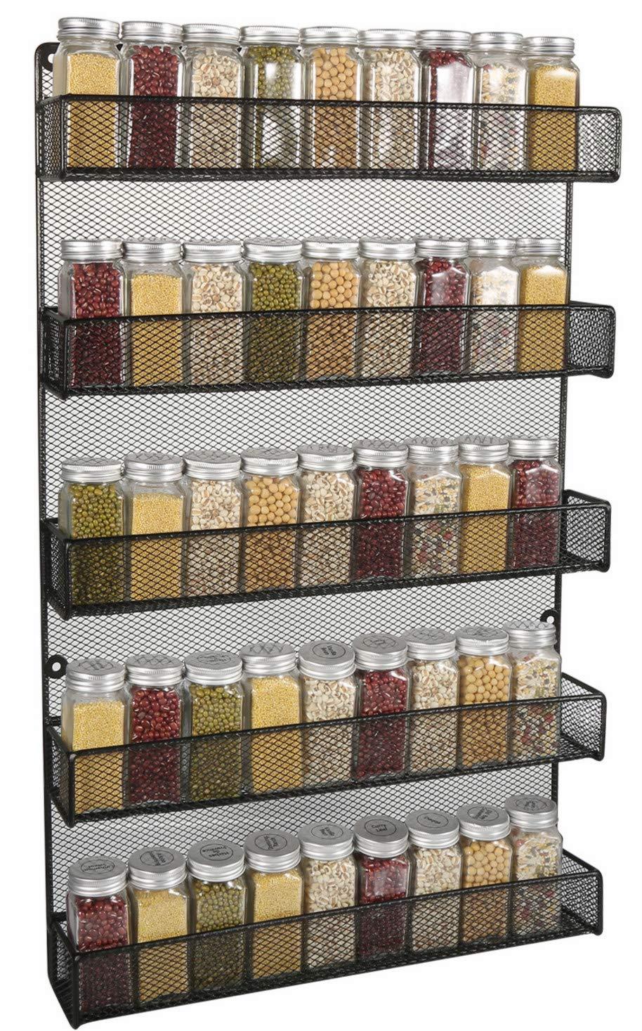 5 Tier Kitchen Wall Mount Spice Rack Organizer Large Kitchen Spice Storage Shelf (Black) by Welcare