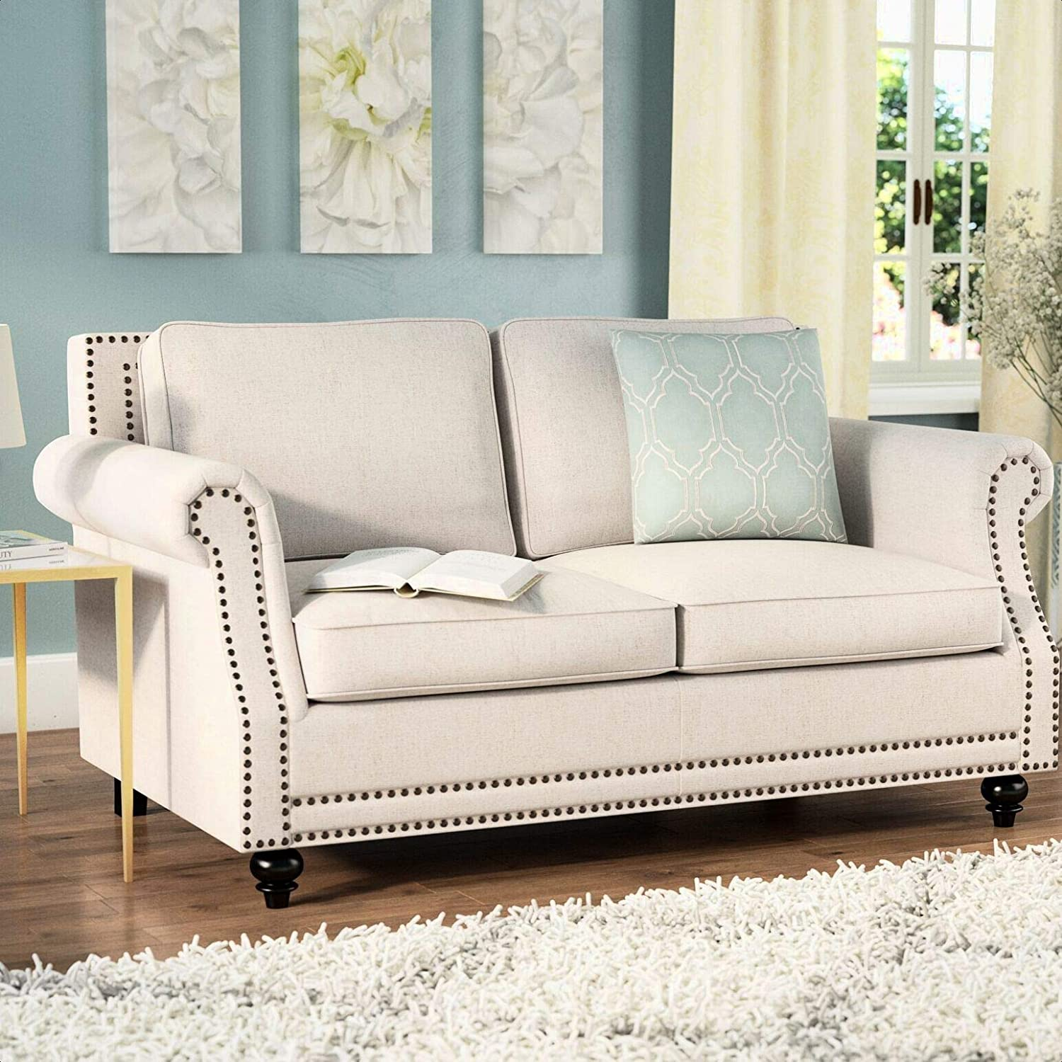 Cadwell 64 6 Round Arm Loveseat Removable Back Cushions Upholstery Material Linen Blend Kitchen Dining
