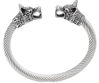 Pulsera de acero inoxidable para hombre, diseño vikingo de doble cabeza de lobo, pulido
