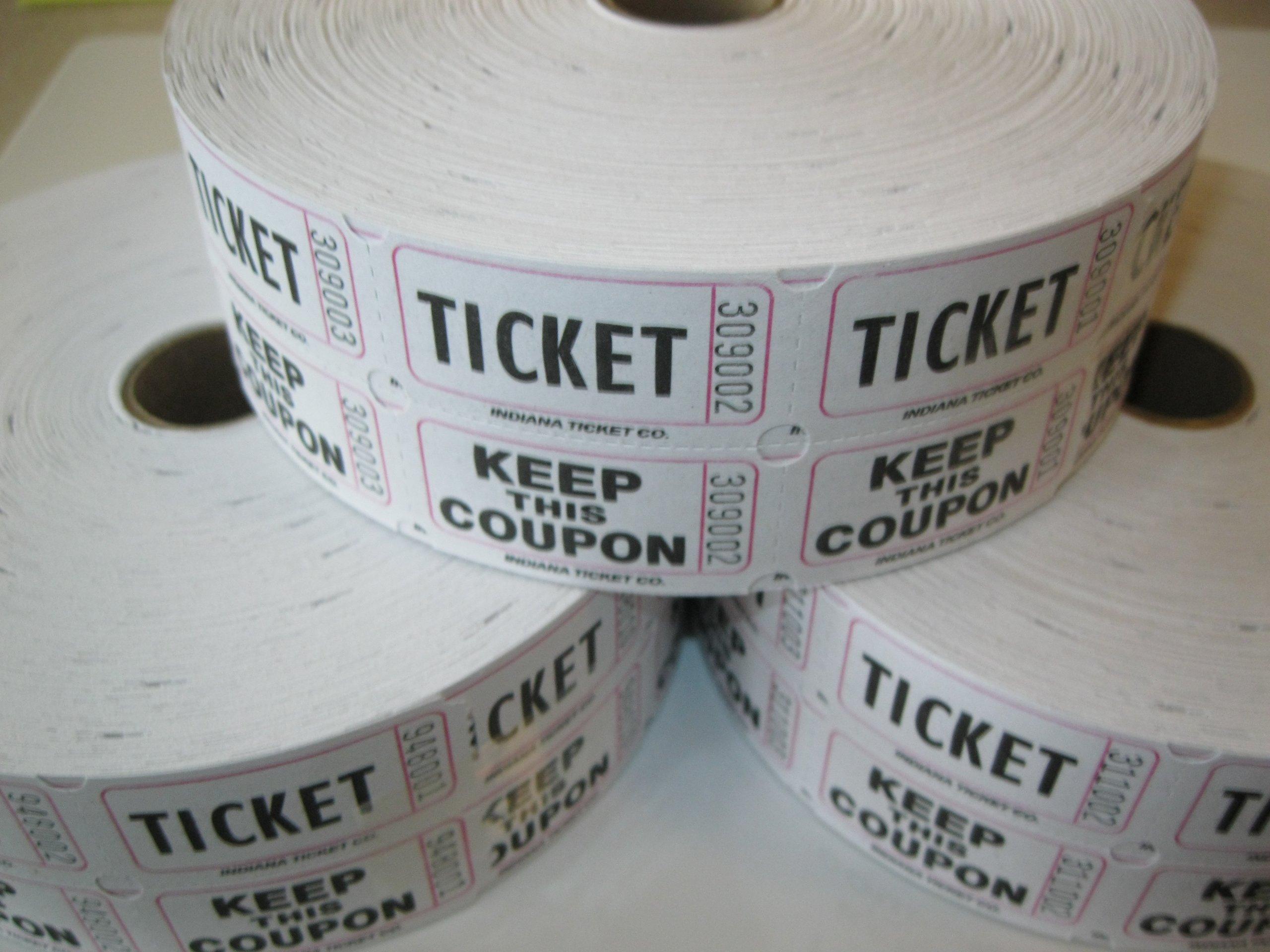3 Rolls White 50-50 Raffle Tickets