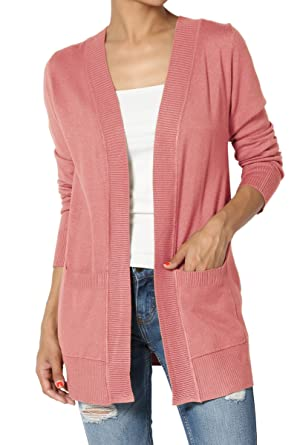 TheMogan Women s Boyfriend Open Front Pockets Knit Sweater Cardigan Ash  Rose S 0f62db44d