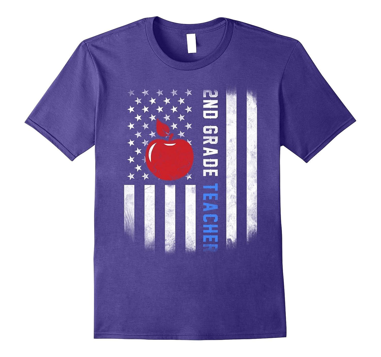 2nd grade teacher shirt US flag-Vaci