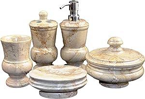 Nature Home Decor 400SB12349 Sahara Beige Marble 5-Piece Bathroom Accessory Set