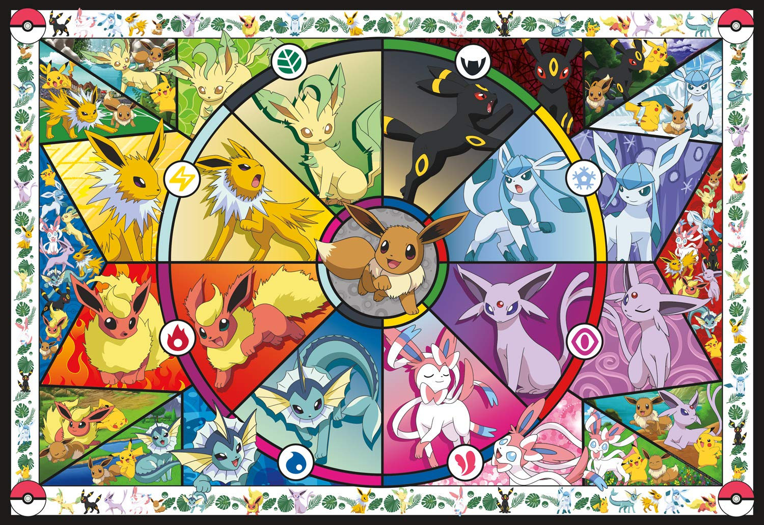 Buffalo Games Pokemon - Pokemon - Eevee's Stained Glass - 2000 Piece Jigsaw Puzzle