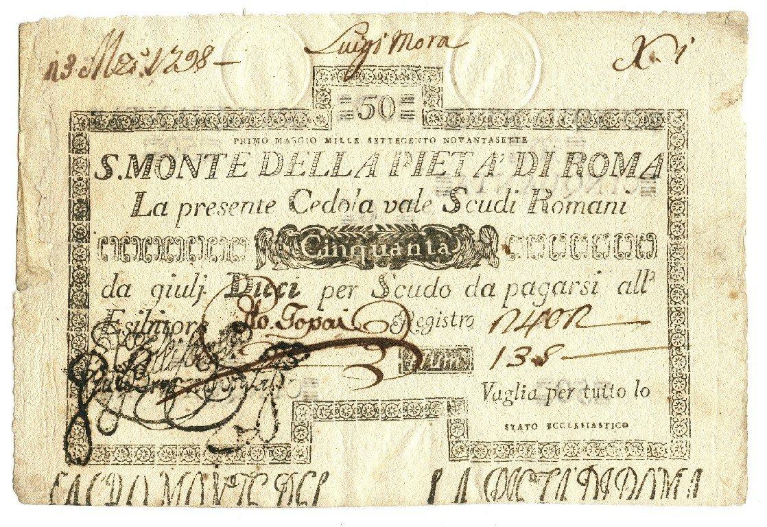 Cartamoneta  50 Scudi CEDOLA Sacro Monte della PIETÀ di Roma 01 05 1797 MB BB