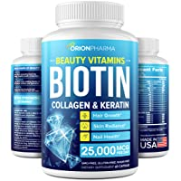 Biotin Keratin & Collagen Capsules - Made in USA - Natural Marine Collagen, Keratin & Biotin for Hair Growth - Biotin & Collagen Vitamins with Multi Collagen Peptides for Hair Loss, Skin & Nails