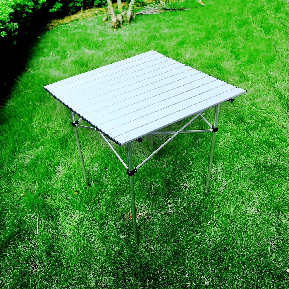 Forbidden Road Aluminum Folding Camping Table Lightweight Portable Picnic Table with Carry Bag Stable Durable Easy Set up for Patio Garden BBQ Beach Fishing Outdoor & Indoor - Silver by Forbidden Road (Image #2)