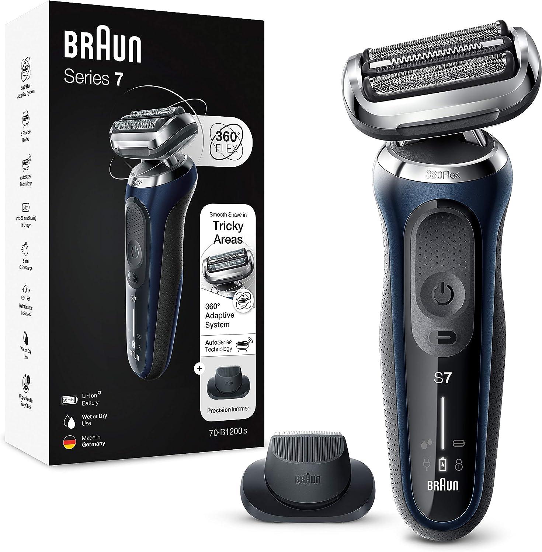 Braun Series 7 70-B1200s - Afeitadora Eléctrica, máquina de afeitar barba hombre de Lámina, con Recortadora de Precisión, Uso en Seco y Mojado, Recargable, Inalámbrica, Azul