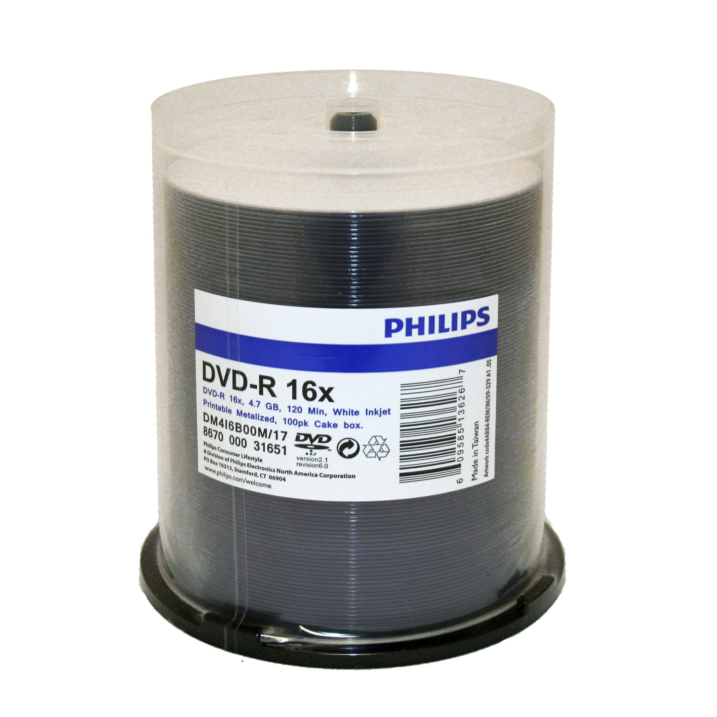 Philips DVD-R Duplication Grade White Inkjet Hub Printable 16X Media 100 Pack in Cake Box (DM416B00M/17)